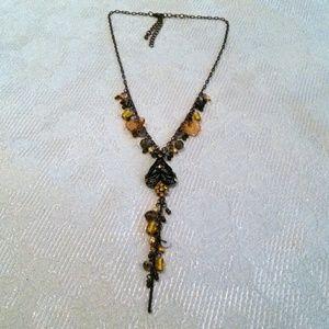 Copper Tone Beaded Rhinestone Y Necklace